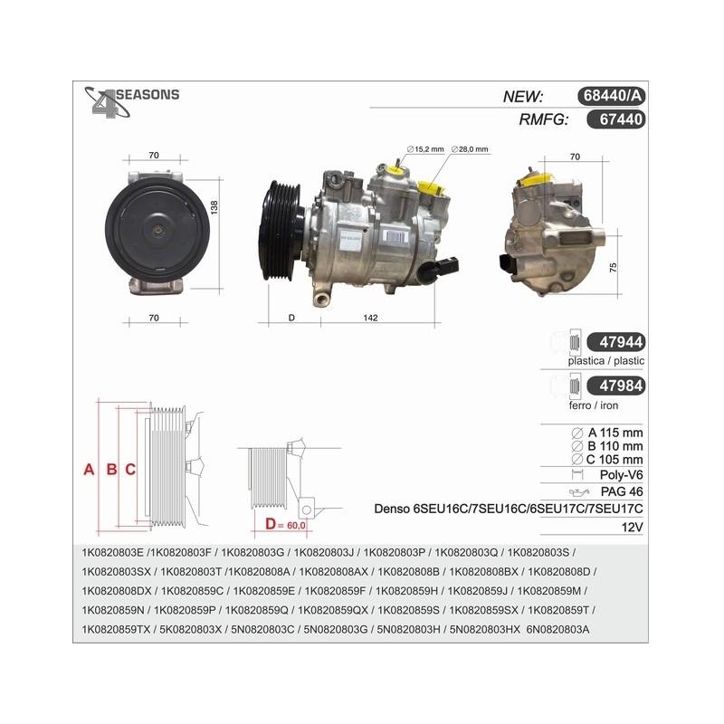 Compresor de para 1k0820808a 1k0820859h 1k0820859j 1k0820859n 1k0820859p
